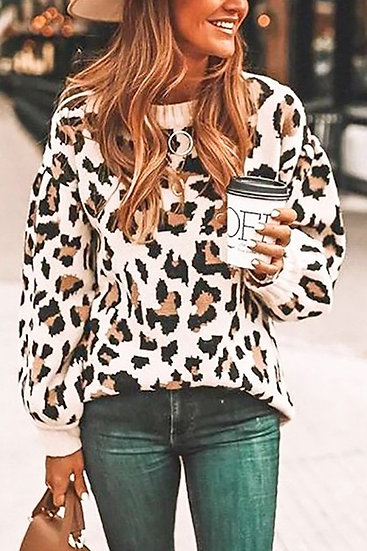 Purr- Adise Leopard Knit Sweater