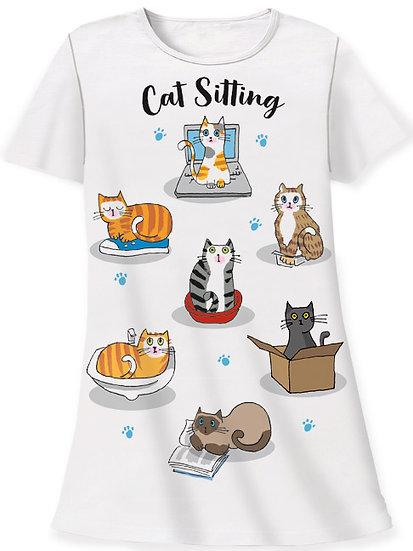 Cat Sitting Sleep Shirt