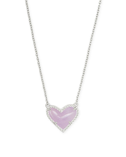 Ari Heart Rhod Short Pendant In Purple Amethyst