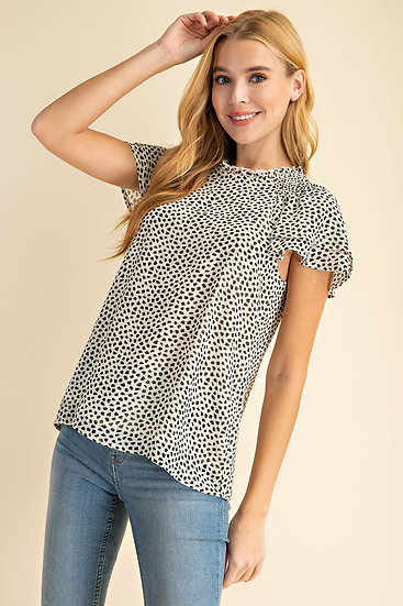 Earn Your Love Cream Spotted Top