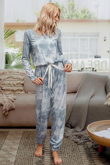 Dreamstate Cotton Tie Dye Knit Jumpsuit Set - Grey Mix