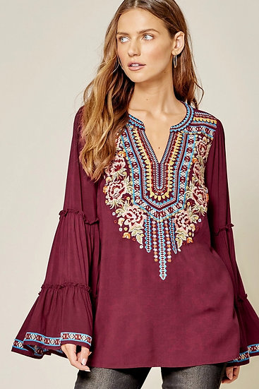Antoinette Embroidered Bell Sleeve Top
