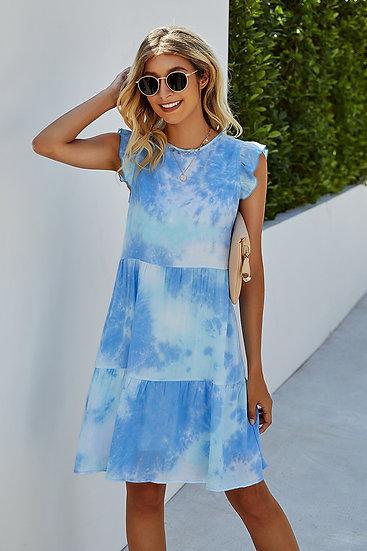Let's Get Groovy Blue Tie Dye Dress