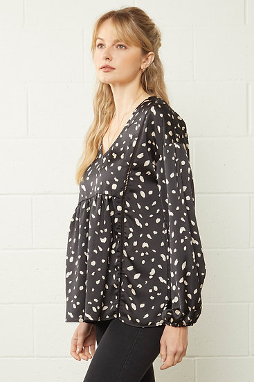 Out On Your Own Black Dot Blouse