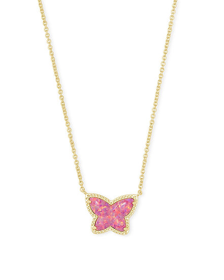 Lillia Butterfly Pendant Necklace In Gold Rose Pink Opal