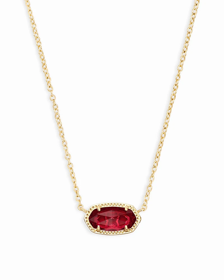 Elisa Gold Pendant Necklace In Berry - JANUARY
