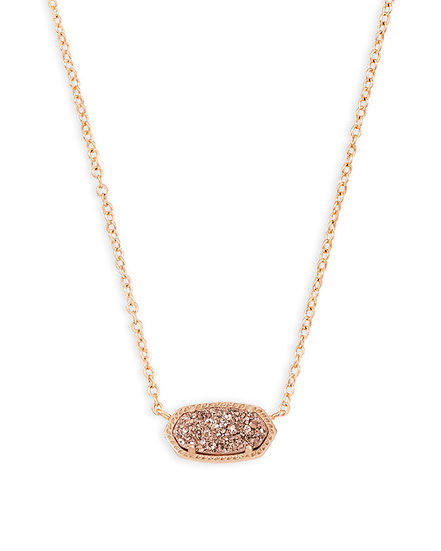Elisa Rose Gold Pendant Necklace In Rose Gold Drusy