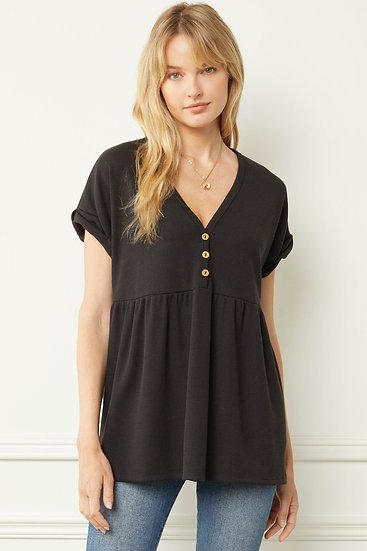 Play Your Cards Right Black Button Detail Top