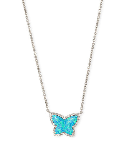 Lillia Butterfly Pendant Necklace In Rhodium Turquoise Opal