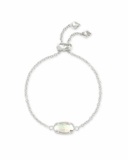 Elaina Silver Adjustable Chain Bracelet In Dichroic Glass