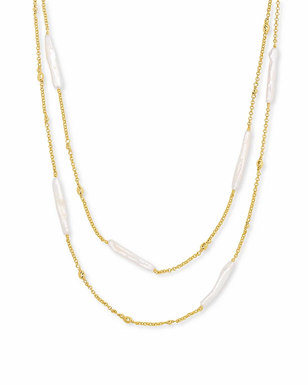 Eileen Gold Multi Strand Necklace In White Pearl