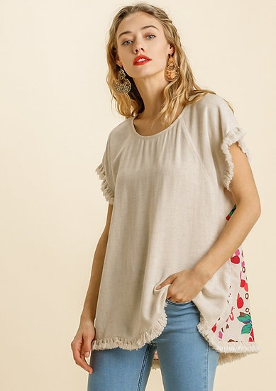 Get Your Way Oatmeal Floral Animal Mix Top