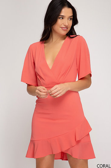 Classic Looks Coral Wrap Dress