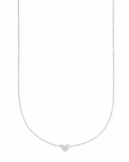 Heart 14k White Gold Pendant Necklace In White Diamonds