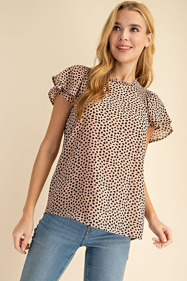 Earn Your Love Blush Spotted Top