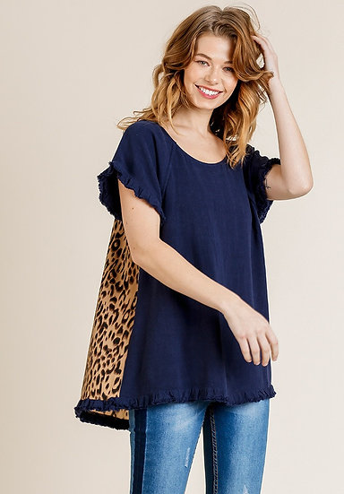 Short Ruffle Sleeve Round Neck Top with Animal Print Scoop Back - Navy