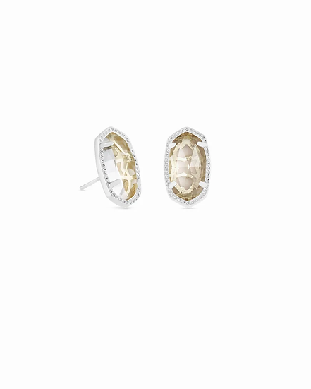 Ellie Silver Stud Earrings In Clear Crystal - APRIL