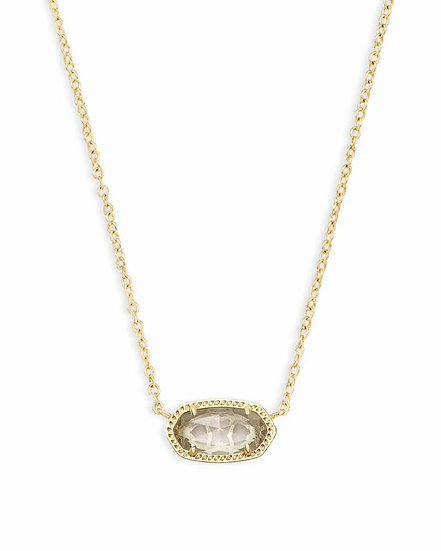 Elisa Gold Pendant Necklace In Clear Crystal - APRIL