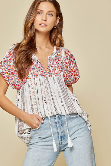 Dream Location Ivory Multi Embroidered Top