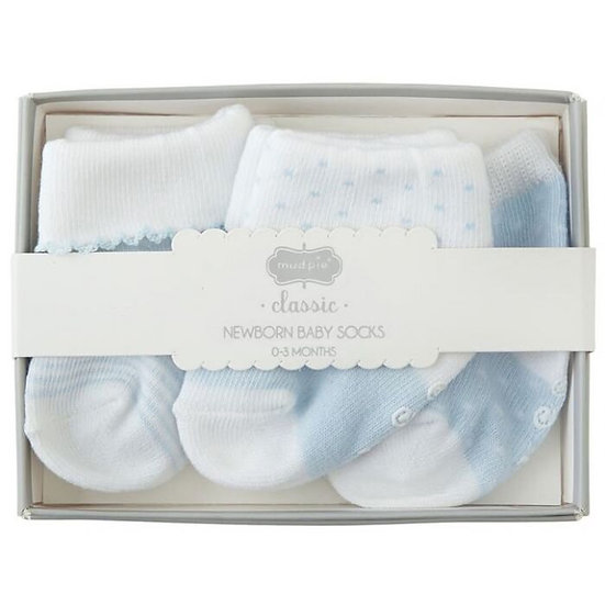 Newborn Baby Sock Set of 3 - Blue