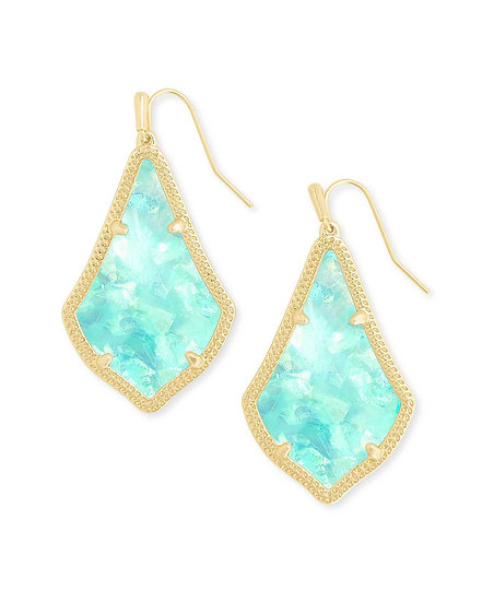 Alex Gold Drop Earrings In Iridescent Mint Illusion