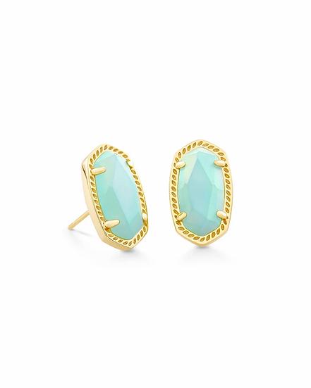 Ellie Gold Stud Earrings In Matte Iridescent Mint Glass