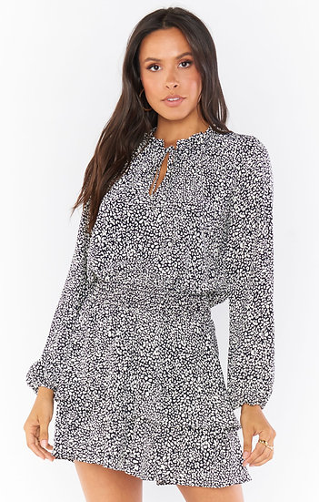 Tatum Black Petite Cheetah Mini Dress  (Show Me Your Mumu)