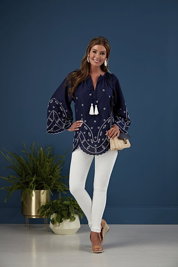 Parson Embroidered Tunic - Navy