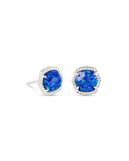 Davie Stud Earrings In Rhod Royal Blue Opal