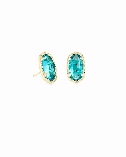 Ellie Gold Stud Earrings In London Blue - DECEMBER