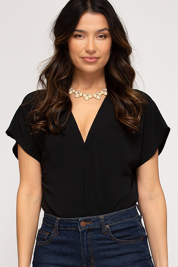All The Attention Black Pleated Bodysuit
