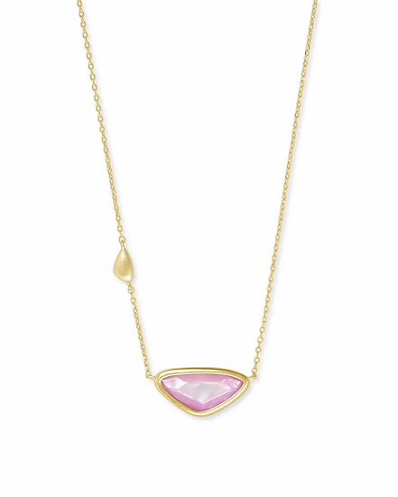 Margot Gold Pendant Necklace In Lilac Mother Of Pearl