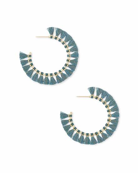 Evie Gold Hoop Earrings In Turquoise