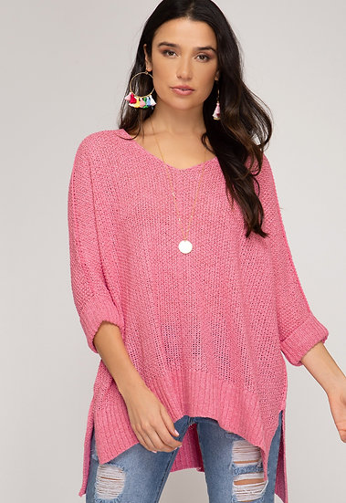 Reasons To Fall Hi Low Knit Sweater - Candy Pink