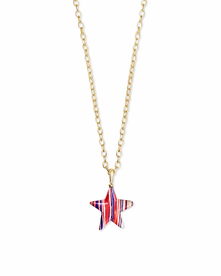 Carved Jae Star Gold Long Pendant Necklace In Pink Rainbow Calsilica