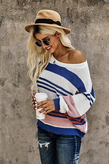 Georgia Stripe Sweater - Blue/Cream/Blush