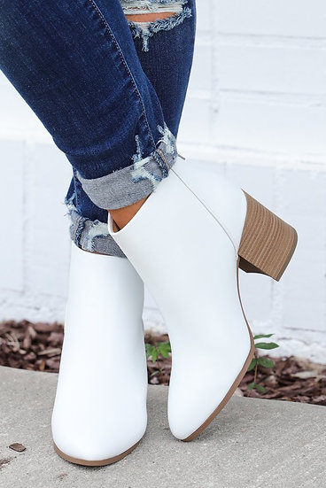 White Wedge Bootie