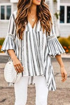 Let's Find Out Grey Stripe Top