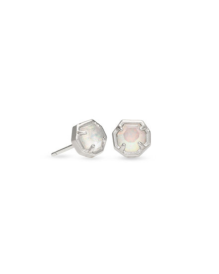 Nola Silver Stud Earring In White Opal Illusion