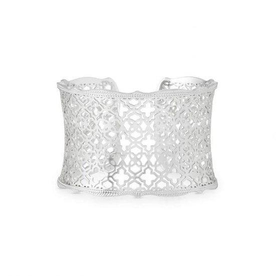 Candice Rhodium Cuff Bracelet In Silver Filigree