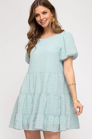 It All Makes Sense Mint Blue Tiered Dress