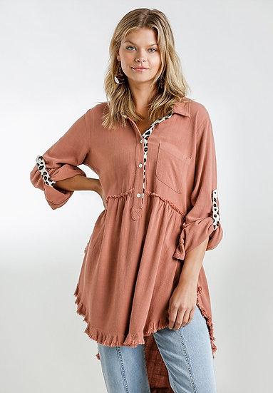 Sassy Leopard Button Tunic - Canyon  Clay