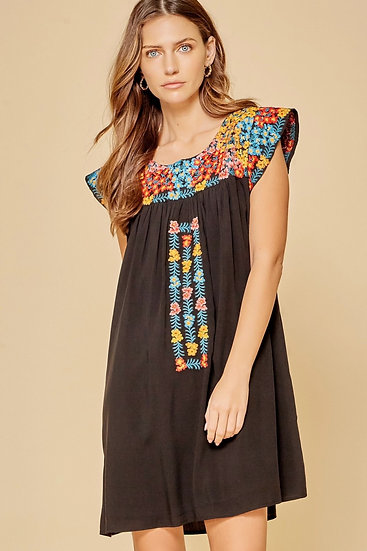 Conversation Starter Black With Colorful Embroidery Dress