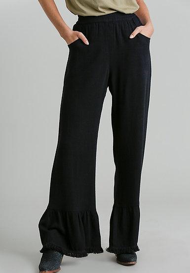 Black Frayed Bell Bottom Pants