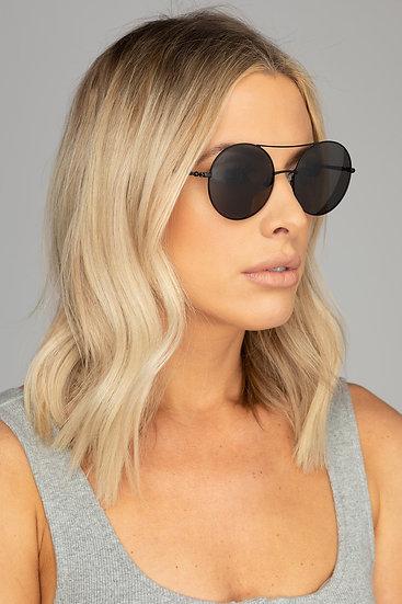 Capri Round Double Ridge Black Sunglasses (Buddy Love)