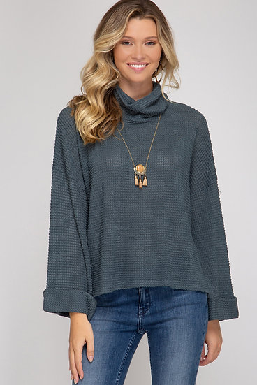 Day To Day Turtleneck Knit Top - Slate
