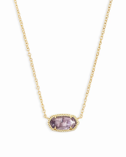Elisa Gold Short Pendant Necklace In Amethyst - FEBRUARY