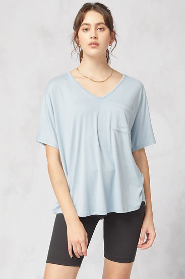 On The Lookout Pale Blue Pocket Top