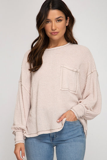 Be Happy Billowed Sleeve Thermal Knit Top - Oatmeal