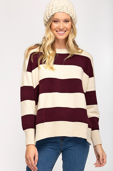 Figure You Out Striped Sweater - Plum